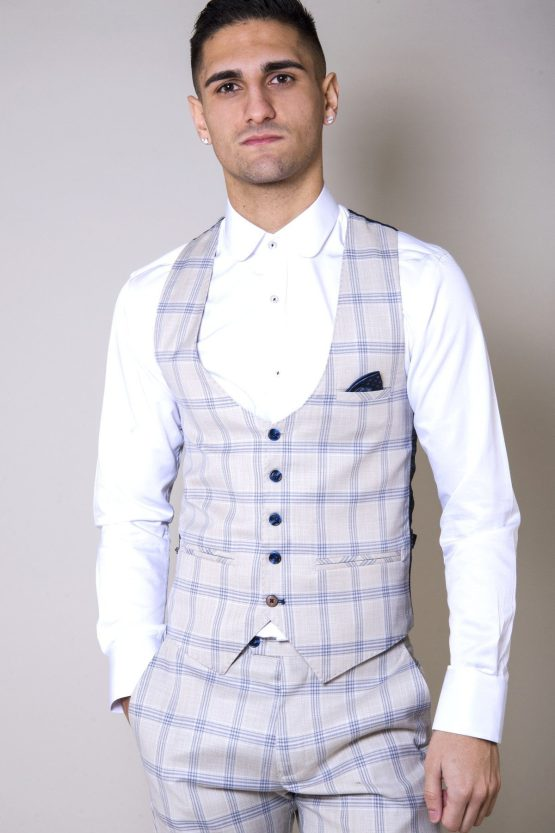 Buxton Cream Check Three Piece Suit | Men's Suits Cork | Suits Distributors