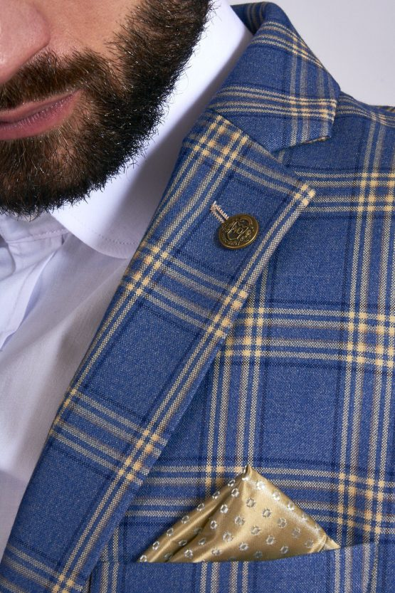 Tony Blue Yellow Check Suit With Single Breasted Waistcoat   Suits Distributors