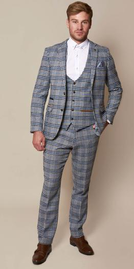 Watson Blue Tan Tweed Check Suit | Wedding Suits Cork | Suits Distributors Cork