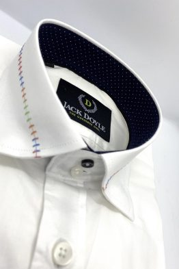Suits Distributors - Men's Wedding Suits Cork - Jack Doyle Casual White Shirt With Trim 4
