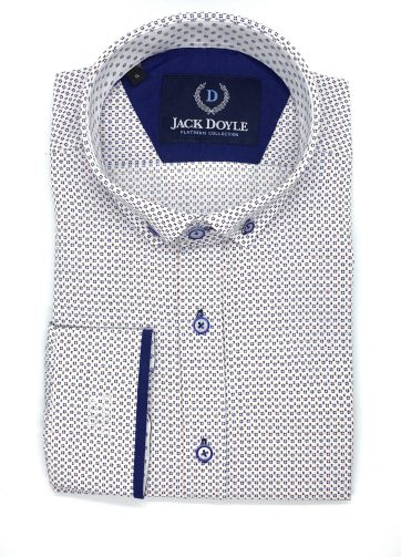 White Shirt With Navy Print And Button Down Collar 1