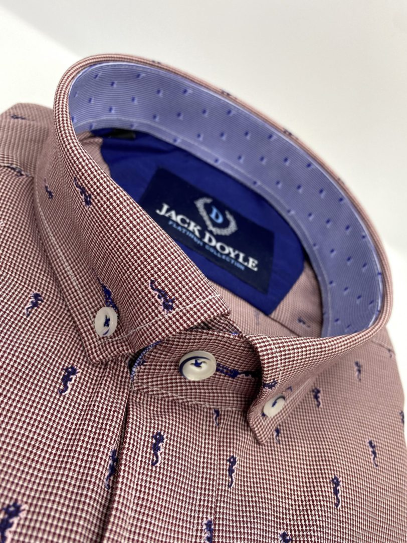 Maroon Print Shirt With Navy Contrast 3