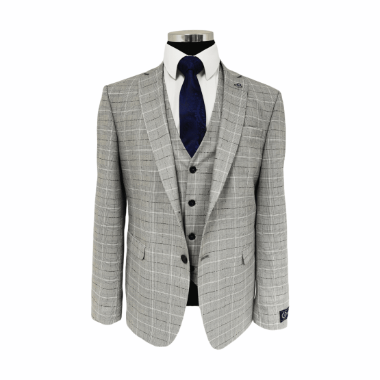 Suits Distributors Cork - Wedding Business Corporate Graduation Suits Cork - Jack Doyle Light Grey Three Piece Check Suit With Black Detail 1
