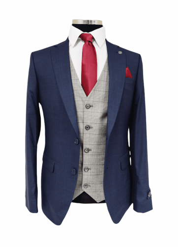 Jack Doyle Navy Subtle Check Three Piece Suit With Contrasting Waistcoat