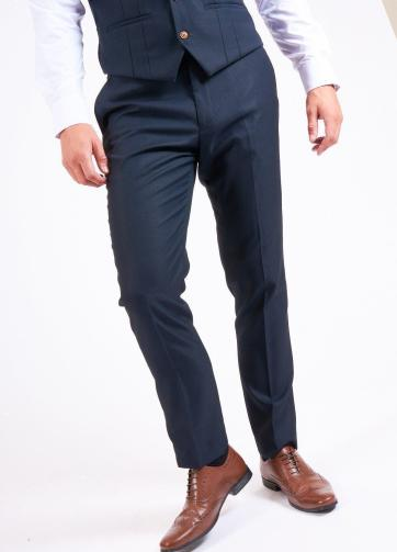 Max Navy Three Piece Suit with Contrast Buttons