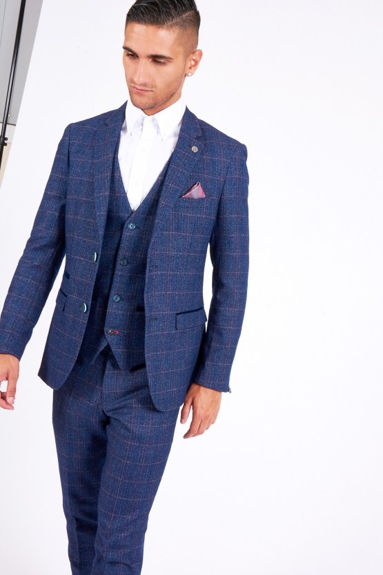 Harry Indigo Check Print Tweed Three Piece Suit With Single Breasted Waistcoat | Men's stylish and affordable suits online | Suits Delivered Online Ireland