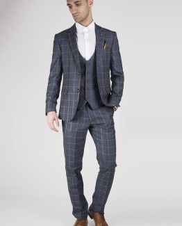 Roman Blue Windowpane Check Print Three Piece Suit | Men's stylish and affordable suits online | Suits Delivered Online Ireland