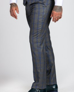 Roman Grey Windowpane Check Print Three Piece Suit | Men's stylish and affordable suits online | Suits Delivered Online Ireland