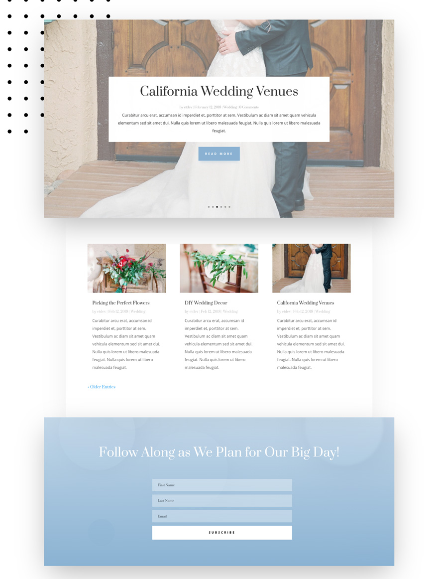 wedding engagement blog page