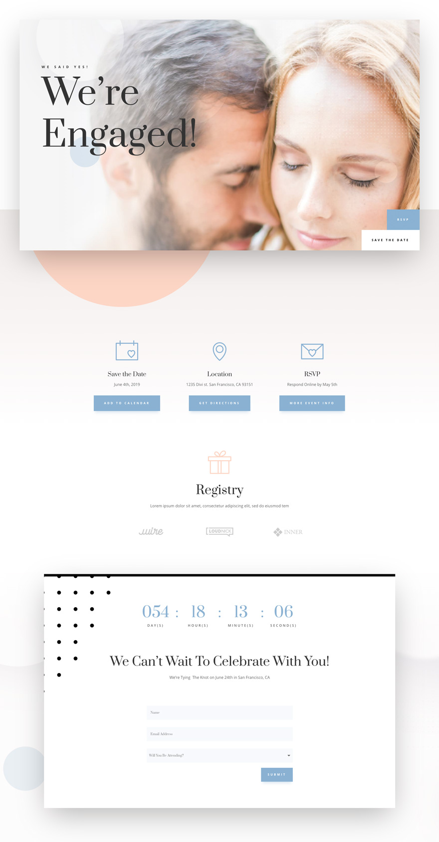 wedding engagement home page