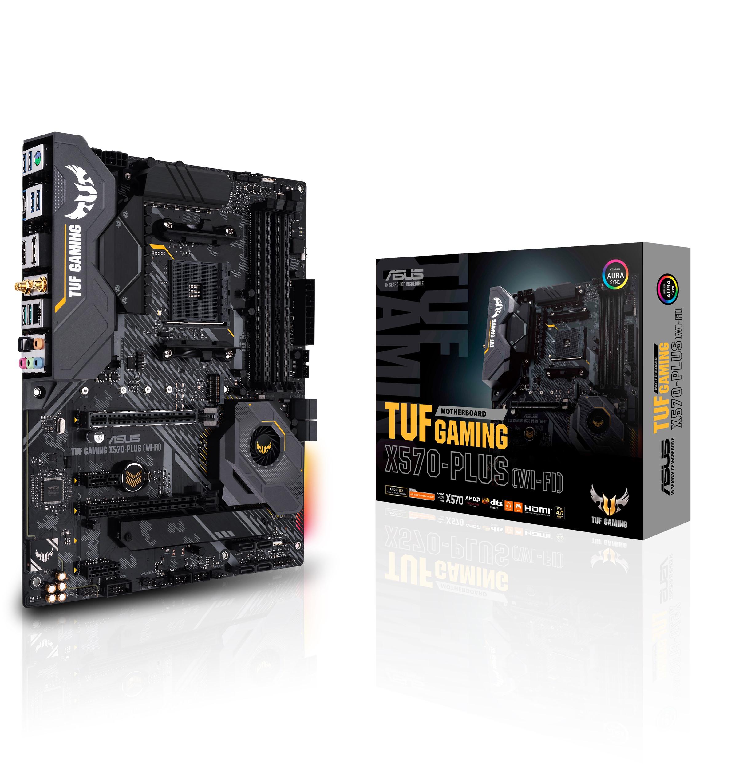 TUF Gaming X570-PLUS (Wi-Fi)採用軍規風格元件,外觀設計強悍,以高穩定度與可靠性成為入門電競玩家首選