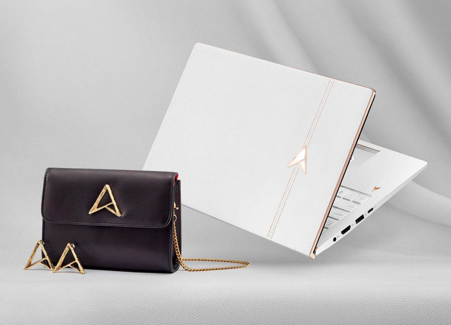 30周年限定版「ASUS ZenBook Edition 30」贈服裝設計師Jenn Lee 聯名限量30周年紀念鍊帶包與耳環。