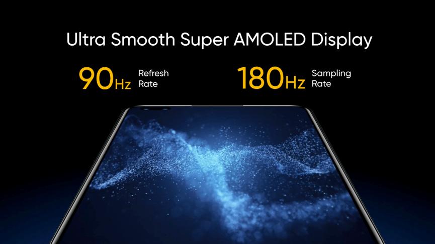 realme X50 Pro 5G搭載90Hz Super AMOLED暢速螢幕。
