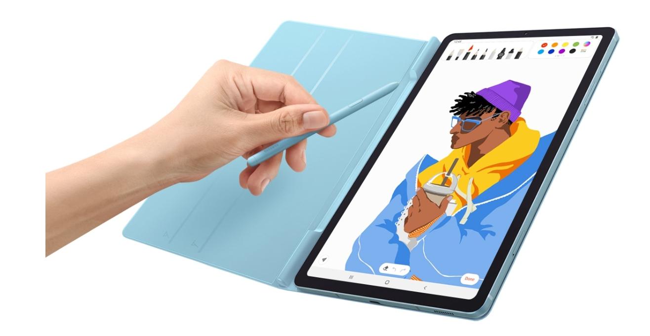 將平板放入時尚又便利的書本式皮套。Galaxy Tab S6 Lite書本式皮套的磁吸式包覆設計