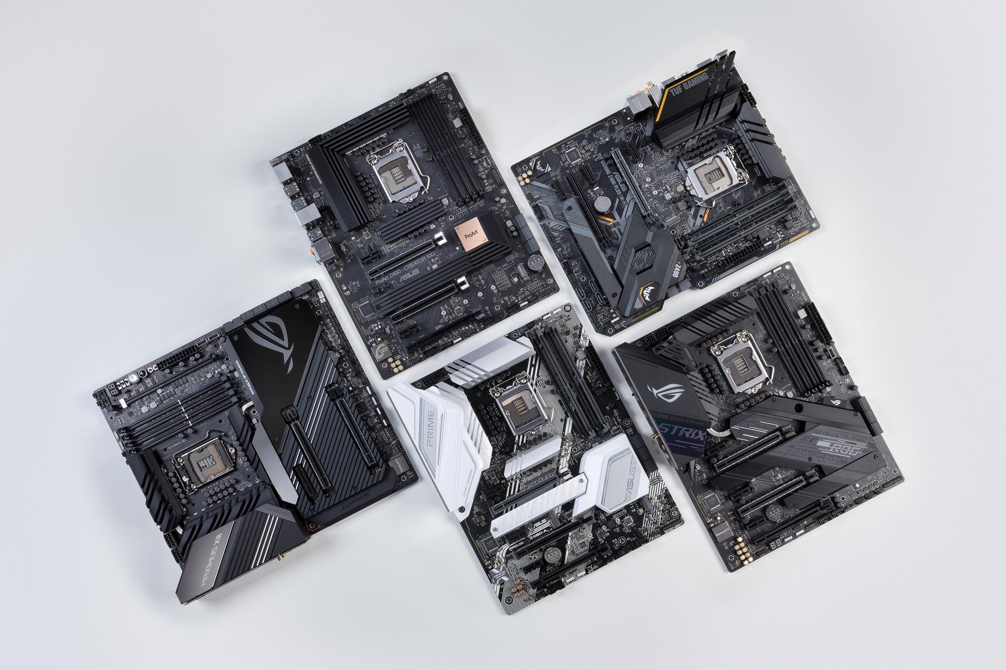 Z490 ROG,ROG Strix,ProArt,TUF Gaming,Prime五大系列主機板。
