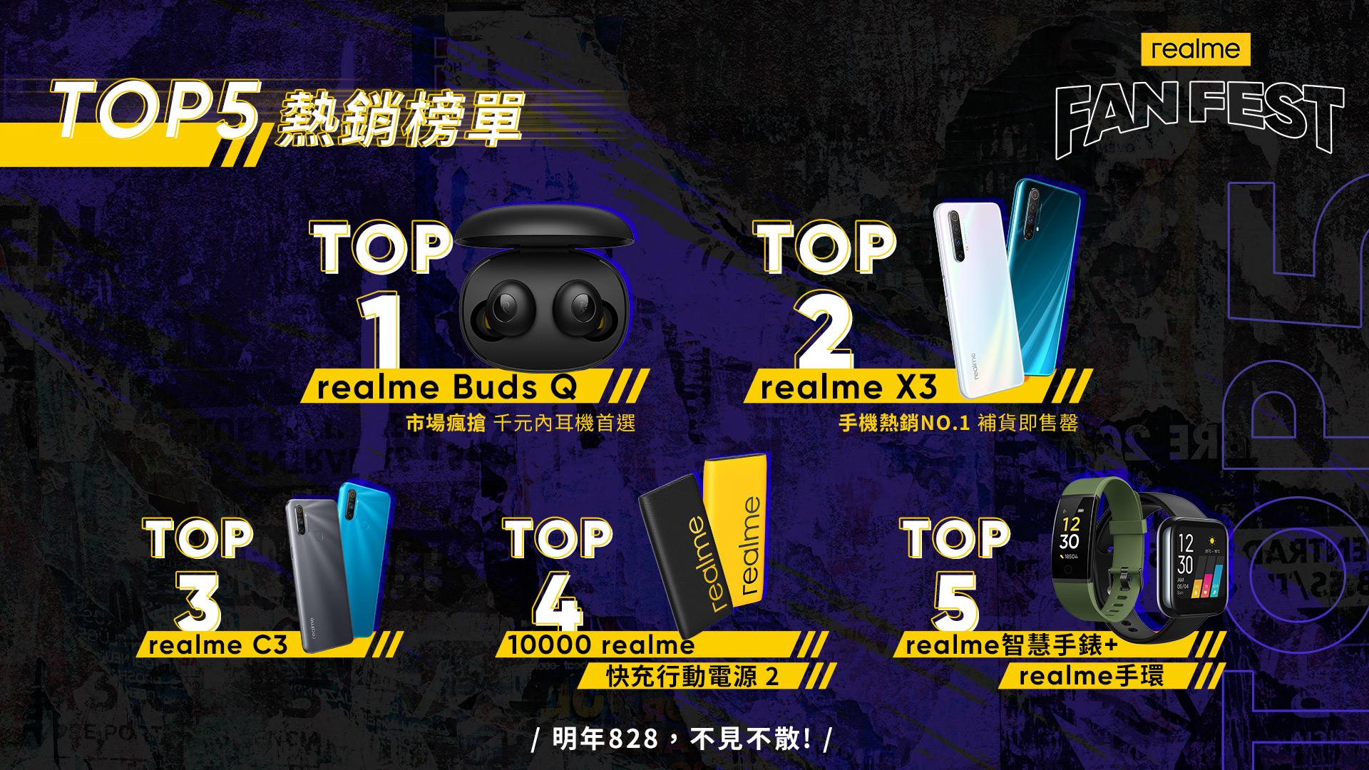 realme粉絲節TOP5熱銷榜單。