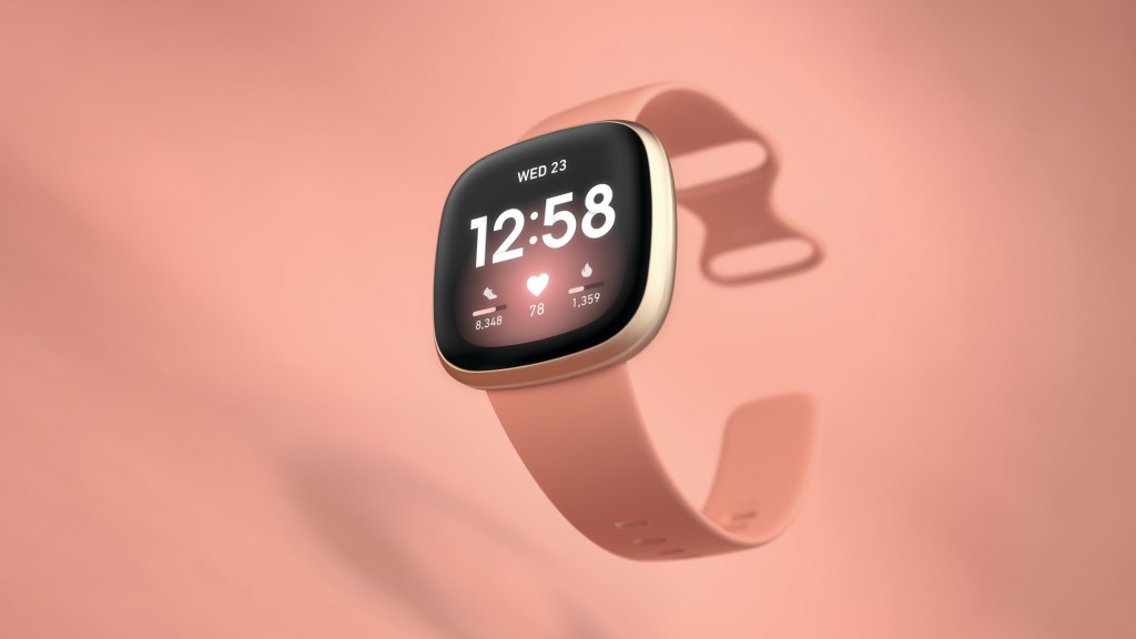 Product laydown photography for Fitbit Versa 3.