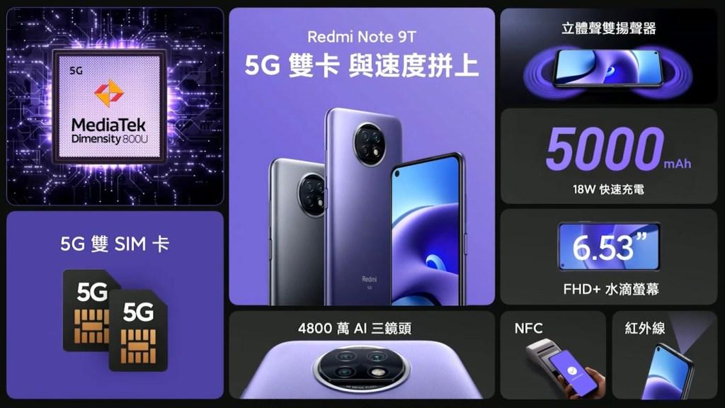 Redmi-Note-9T支援5G5G雙卡雙待,搭載八核心MediaTek