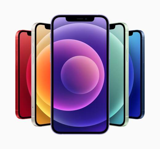 iPhone 12 與 iPhone 12 mini 現在有六種令人驚豔的顏色外觀:藍色、綠色、黑色、白色、(PRODUCT)RED 和最新的紫色