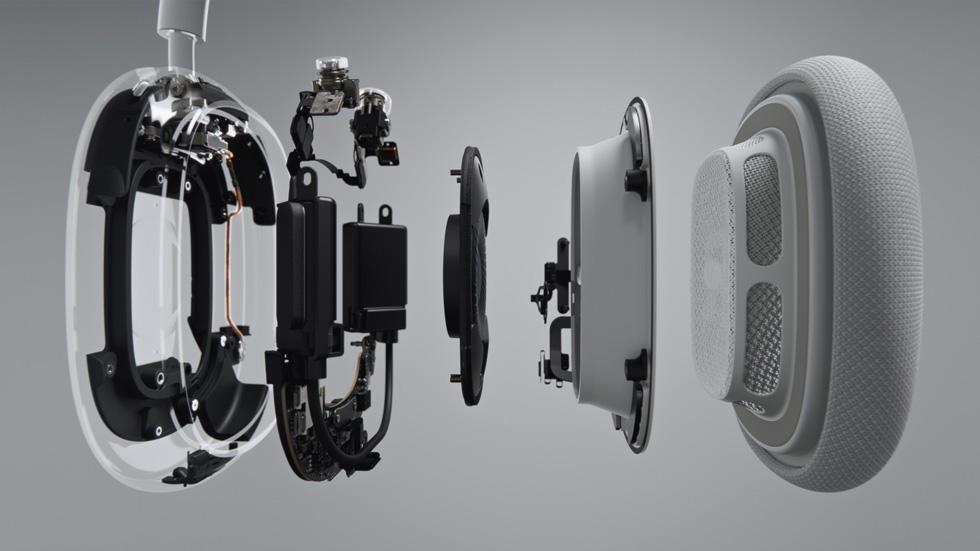 AirPods Max 客製化聲學設計搭載 40 毫米動圈驅動單體與獨特的雙環形釹磁鐵引擎。