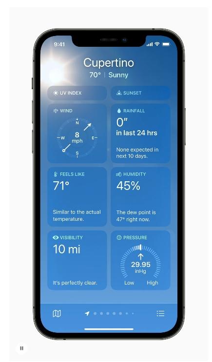 重新設計的「天氣」app會根據條件,例如大雨,改變資料和版面配置。