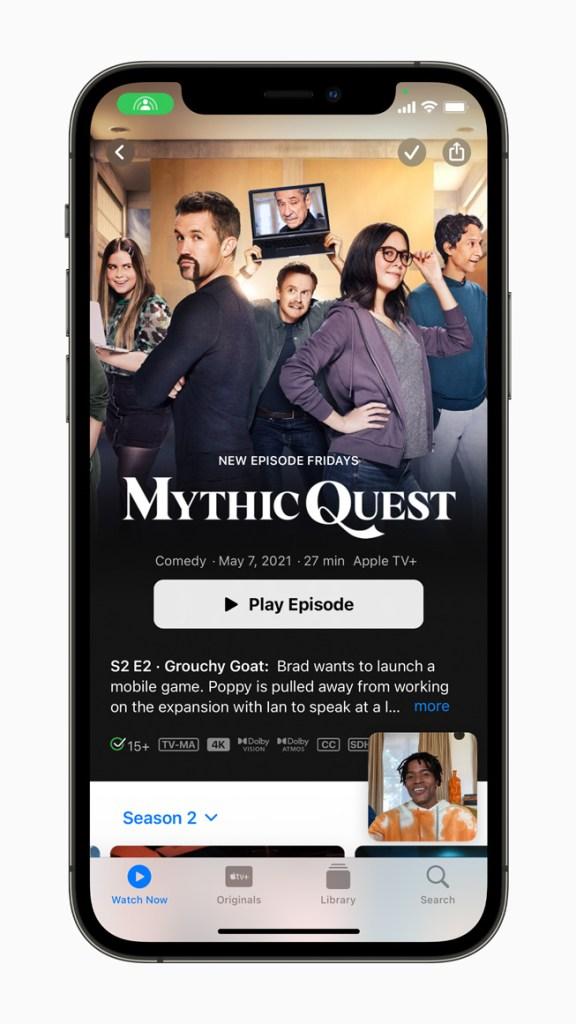 有了 SharePlay,使用者就能在與朋友 FaceTime 時分享體驗,包括透過 Apple TV 同步觀看電視節目與電影,或者分享畫面,一同瀏覽 app。