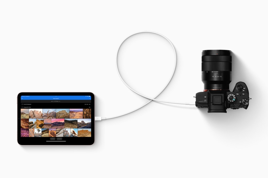 iPad mini 上的 USB-C 能與廣大的生態系統配件相連,包含相機、外接儲存設備,和最高 4K 的顯示器。