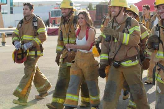 "THE BACHELORETTE - ""Episode 1202"" - Twenty anxious men look to get their love story with JoJo off to a good start. The the first group date give ten lucky bachelors a chance to see sparks fly when they head for a firefighting training facility, where one of the guys might need saving himself. JoJo and Derek get to pick their own adventure, and they choose a romantic picnic by the Golden Gate Bridge in San Francisco. Six bachelors get a dream date to ESPN's popular ""SportsNation"" with hosts Max Kellerman and Marcellus Wiley. They are sure they will be able to help JoJo find a perfect match, but Chad seems determined to ""shock and awe"" all the way up to the rose ceremony, on ""The Bachelorette,"" MONDAY, MAY 30 (8:00-10:01 p.m. EDT), on the ABC Television Network. (ABC/Rick Rowell) JAMES F., ROBBY, JOJO FLETCHER, LUKE"