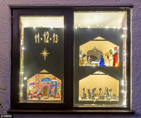 Advent Calendar Window Decoration at Abington Piggots, Cambridgeshire