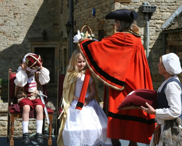 May Queen crowned by Brackley Town Mayor. May King crowns himself!