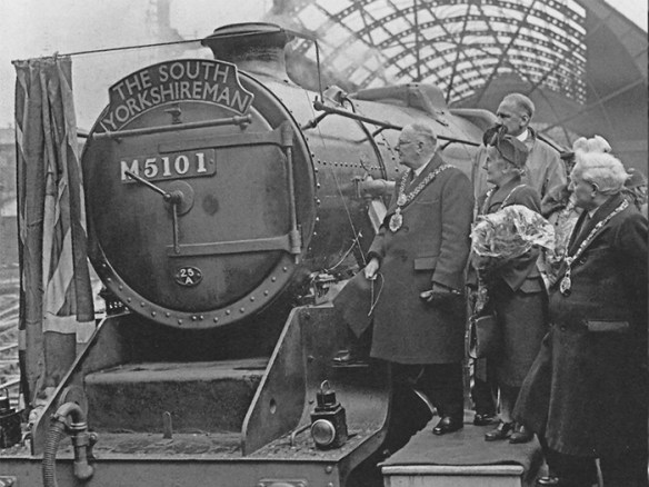 The first South Yorkshireman receiving a Bradford and Huddersfield civic send off on its first journey to London, 10am, 31st May 1948. (Photo courtesy Bradford Argus)