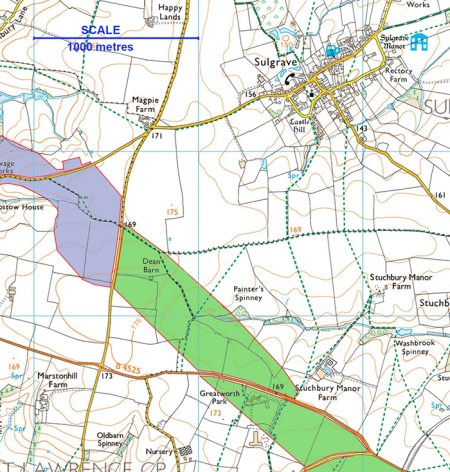 Map of Sulgrave (scale 1000 metres)