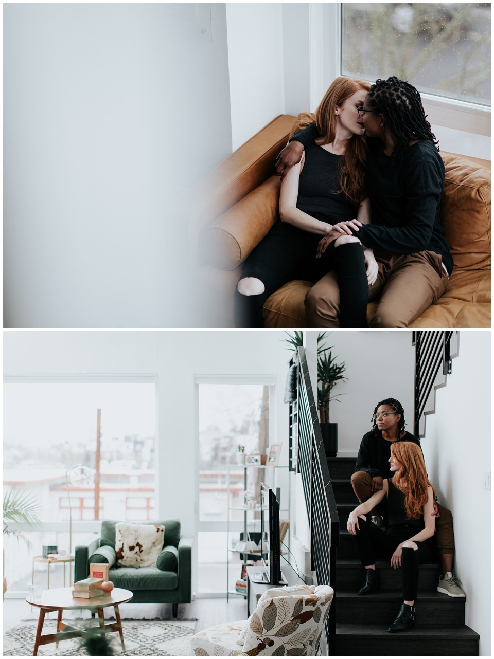 engaged-couple-sitting-on-couch-and-stairs