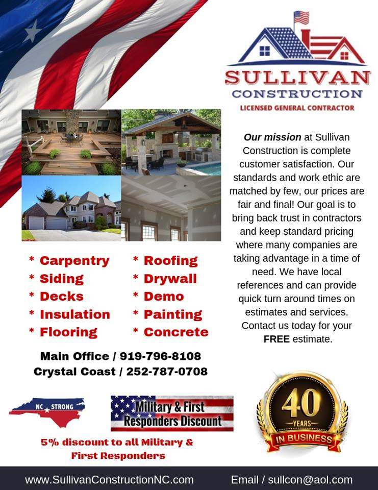 sullivan construction nc, emerald isle, cary, raleigh