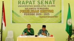 Rektor Unusra, Prof. Dr. H. Nasruddin Suyuti, M.Si (kanan) selaku Ketua Senat Unusra didampingi Sekretaris Senat Wahyu Prianto. Foto: Ist