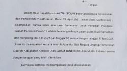 Surat keputusan Plh Bupati Konawe Utara pelarangan mudik, (Foto: Aripin Lapotende/SULTRAKINI.COM)