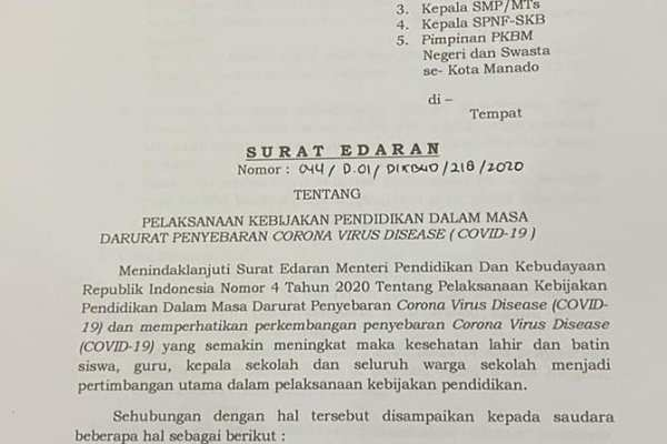 Walikota GSVL Keluarkan Surat Edaran Perpanjang Belajar Dari Rumah Bagi SD/SMP Se-Kota Manado Sampai 29 Mei 2020