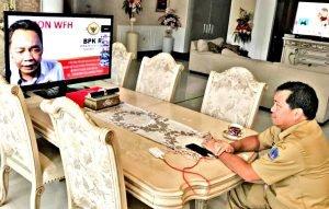 Patuhi Protokol WFH, Wagub Kandouw Rapat Online dengan BPK