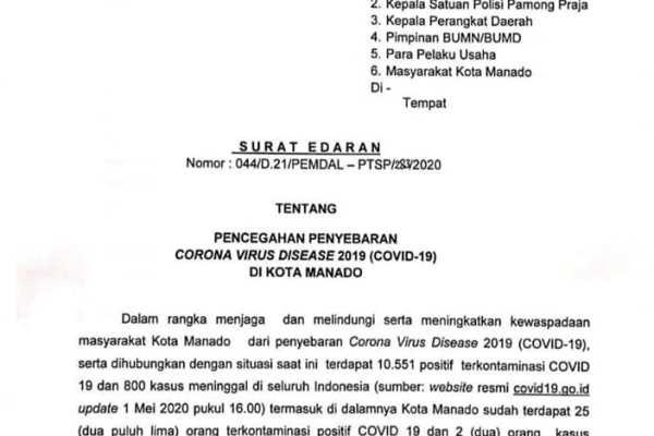 Penutupan Tempat Hiburan Malam di Manado, Kembali Diperpanjang Hingga 29 Mei 2020