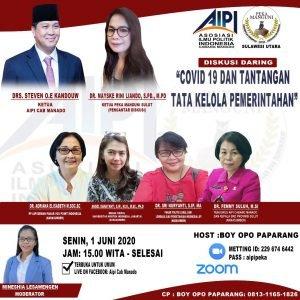 Dibuka Wagub Kandouw, AIPI Manado-PEKA Manguni Gelar Webkusi Covid 19 dan Tantangan Tata Kelola Pemerintahan