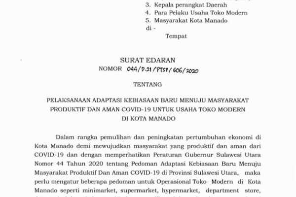 Ini Pelaksanaan Adaptasi Kebiasaan Baru Menuju Masyarakat Produktif dan Aman Covid19 Untuk Usaha Toko Modern di Kota Manado