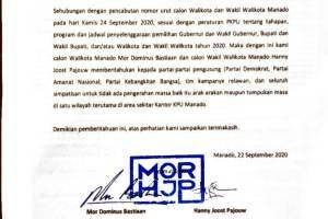 MOR-HJP Patuhi Aturan PKPU untuk Tidak ada Arak-Arakan Saat Pencabutan Nomor Urut ke KPU