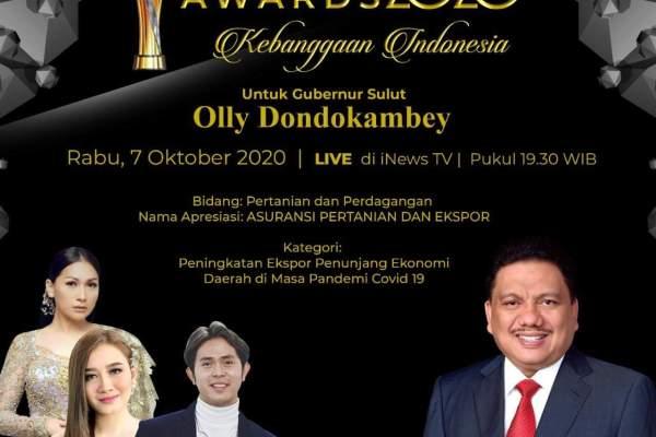 Majukan Pertanian dan Ekspor Sulut, Olly Dondokambey Sabet Indonesia Award (IA)-IV 2020