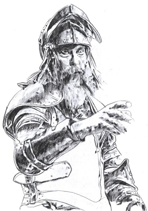 Don Kihot - presovani ugljen na papiru