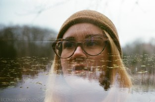 my kid and Lost Lake, double exposure, Minolta SRT 102, Kodak GC 400