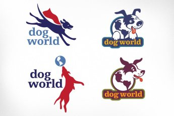 Dog World: A very successful local dog-boarding facility required concepts for a logo design (although ended up choosing something a little less lively). Several animated and boisterous canines were dreamed up to convey a sense of fun and to capture the essence of the kennel's core services.