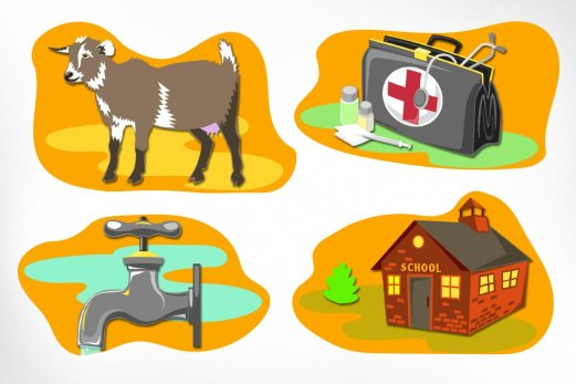 """Free The Children – Adopt A Village: Adopt A Village was created by Free The Children to combat child labour globally. Posters were designed with cheerful cutout illustrations to convey a simple """"math"""" concept: 1$ will buy $10 worth of medical supplies, $50 will buy a family a dairy goat, etc."""