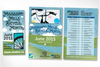 For the last couple of years, Sumack Loft has been helping develop promotional and informational materials for Mississippi Mills Bicycle Month, a month-long celebration of the bicycle. Each year, bicycle-themed artwork by a local artist (in this example the piece is by Jennifer Noxon) is chosen to represent the celebrations and is folded into the print design of charming town and country vistas.
