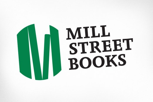 """Mill Street Books, the charming and popular bookstore in Almonte were one of my first clients when I moved to the area years ago. I helped them with their logo and later their website. The logo of course is a vignette of a shelf of books, stacked in just a way as to form the letter """"M""""."""