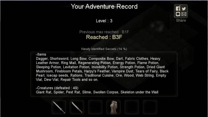 Darkness Survival 今回のゲーム結果